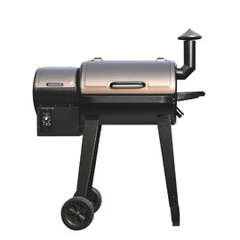 Barbecue Metal Wood Pellet Smoker Grill with Trolley Cart for Backyard Cooking